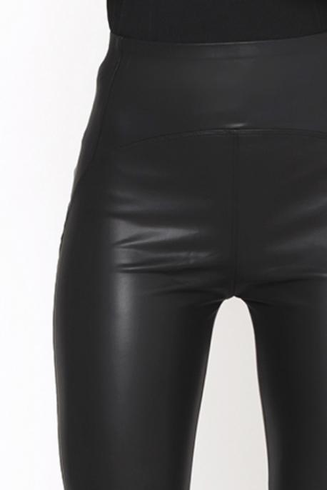 AMNESIA Műbőr nadrág fekete