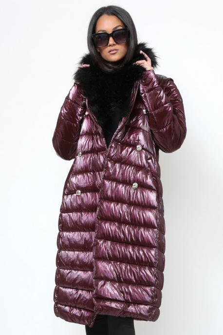 AMNESIA Zippes ujjú szőrmegalléros kabát/mellény lila
