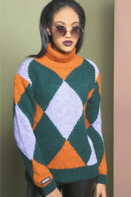 AMNESIA Kockás kötött pulóver