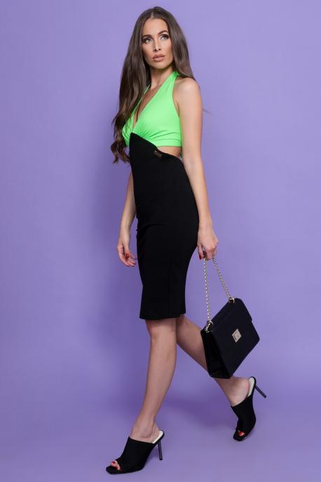 AMNESIA Monic ruha fekete/uv zöld