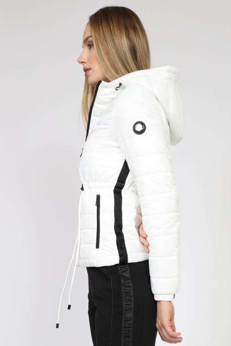 AMNESIA Rövid derékban kötős kabát fehér