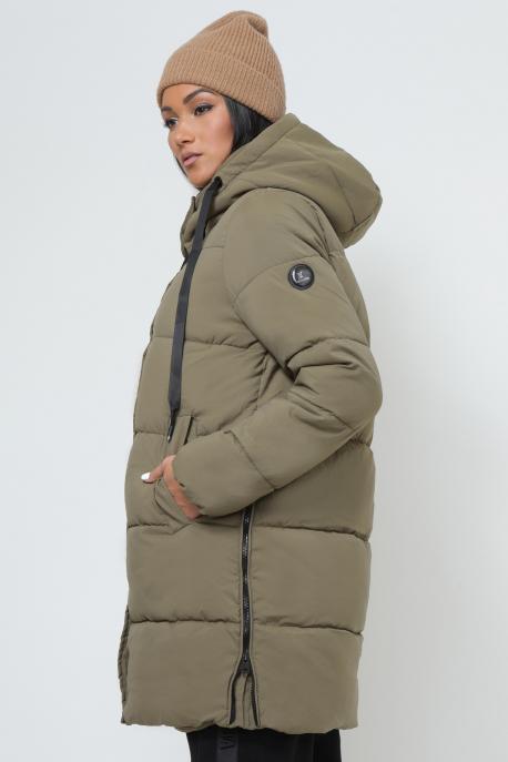AMNESIA Oldalt zippes 3/4-es kabát khaki