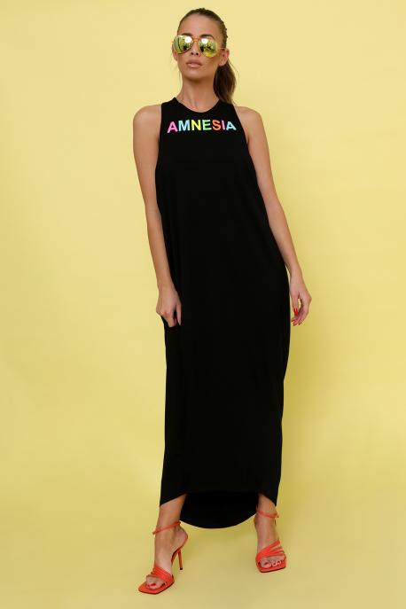 AMNESIA Ricell ruha+ top fekete/uv korall