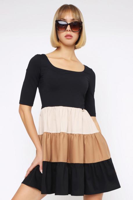 AMNESIA Dozon ruha fekete/barna