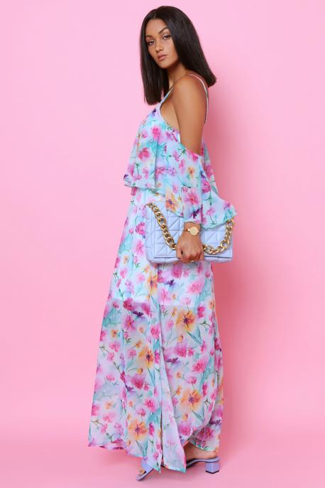 AMNESIA Neména muszlin ruha türkiz/virágmintás