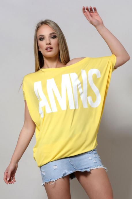 AMNESIA Bony filmnyomott felső sárga/AMNS