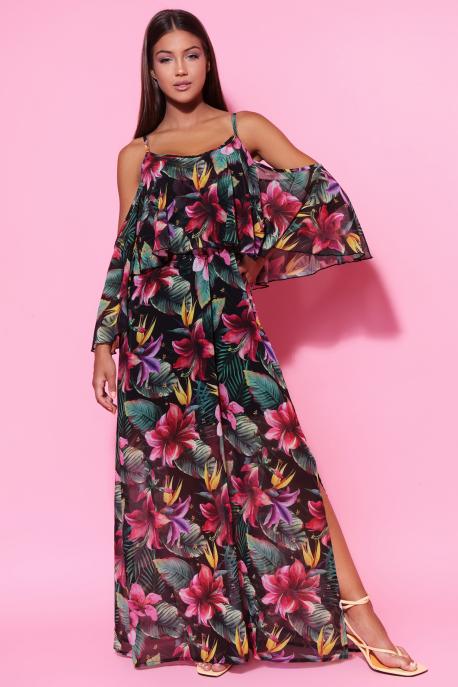 AMNESIA Neména muszlin ruha fekete/virágmintás