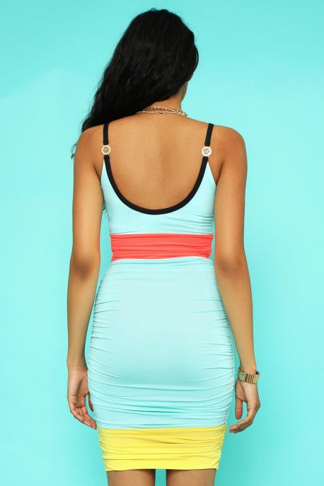 AMNESIA Mirana ruha kék/korall/sárga