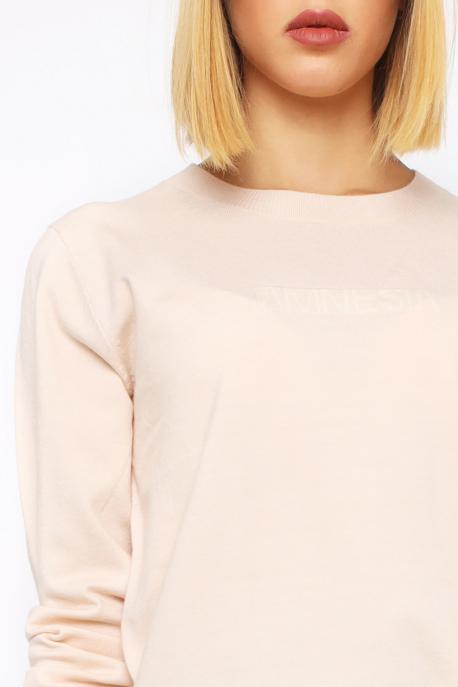 AMNESIA Vékony kerek nyakú pulóver bézs