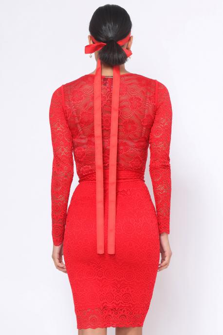 AMNESIA Dawn szoknya hímzett piros