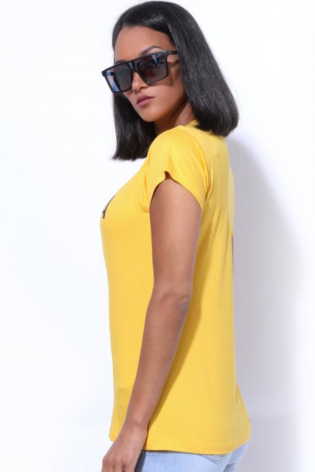 AMNESIA T-póló nyomott sárga