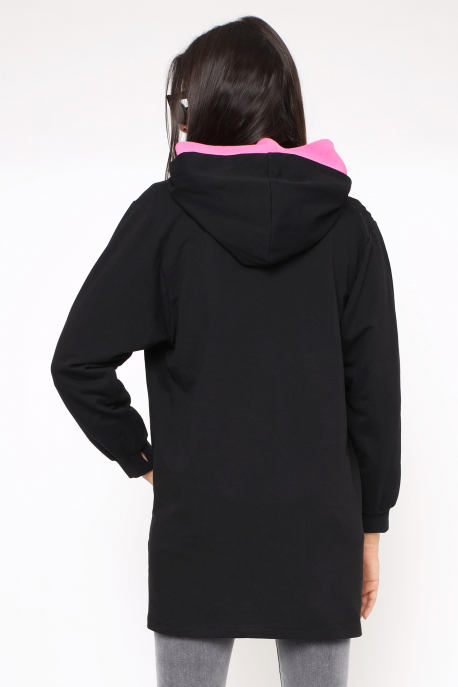 AMNESIA Dolonita tunika fekete/rózsaszín
