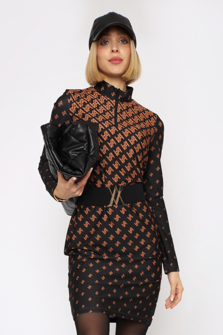 AMNESIA Tabule ruha fekete/barna