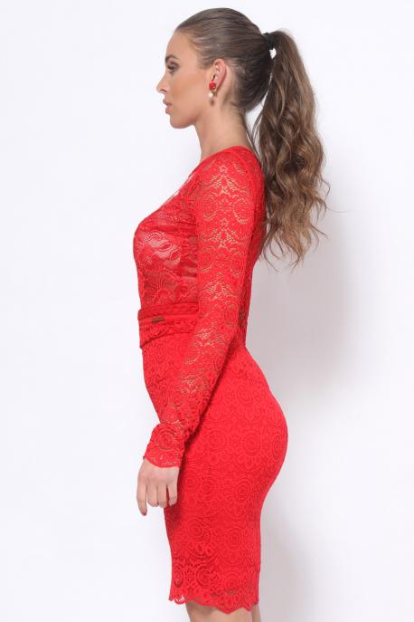 AMNESIA Dakota hímzett body piros