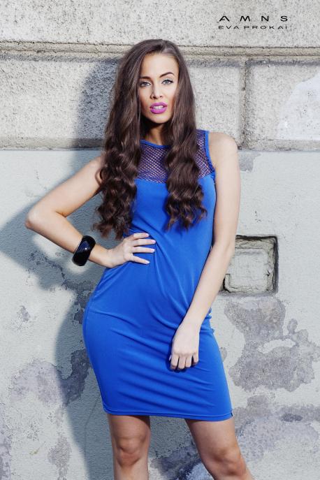 AMNESIA Hálóbetétes kék ruha