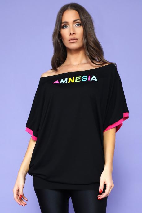 AMNESIA Tira bőfelső fekete