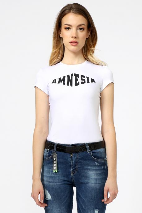 AMNESIA Xihin guminyomásos felső fehér