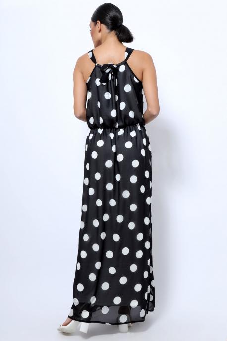 AMNESIA Élkona muszlin ruha fekete pöttyös