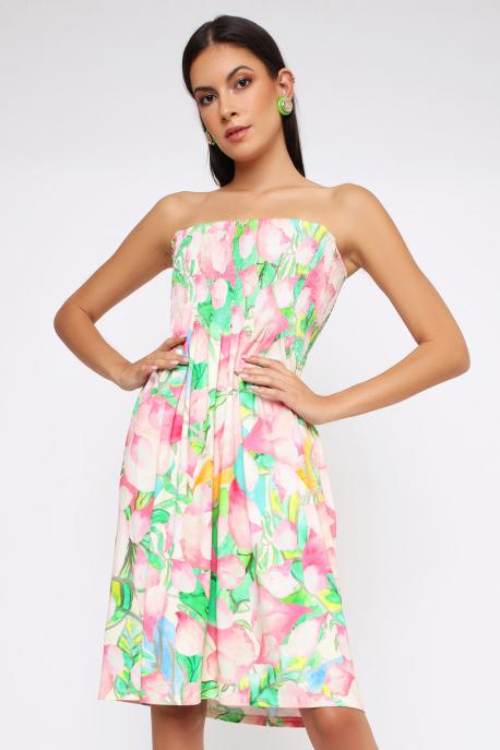 AMNESIA Ilani ruha bézs/virágos