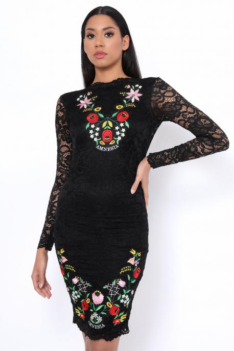 AMNESIA Apemi elöl-hátul hímzett ruha fekete
