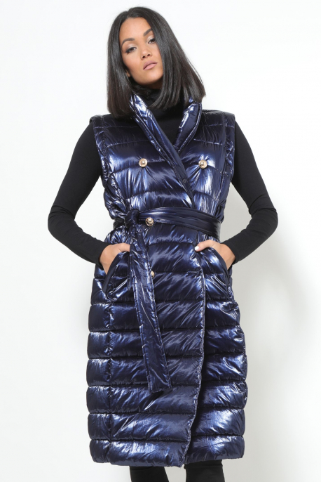 AMNESIA Zippes ujjú szőrmegalléros kabát/mellény kék