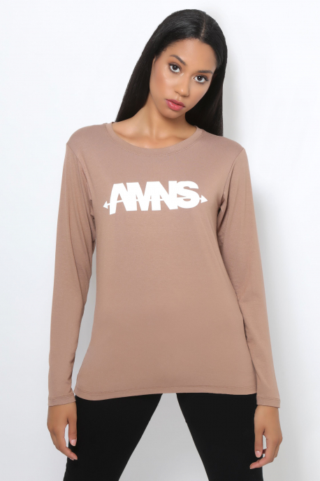 AMNESIA T-póló hosszú ujjú barna/AMNS