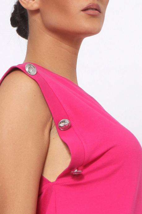 AMNESIA Jolina gombos ujjú tunika rózsaszín