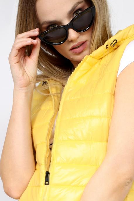 AMNESIA Kapucnis hosszú mellény sárga