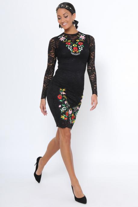 AMNESIA Akiro hímzett ruha fekete