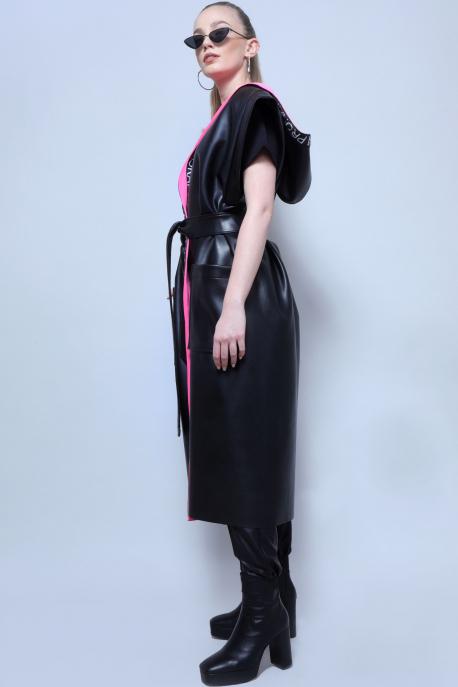 AMNESIA Szulána mellény fekete/rózsaszín