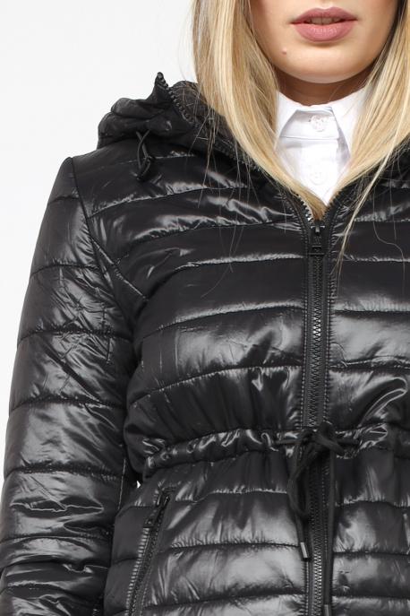 AMNESIA Rövid derékban kötős kabát fekete