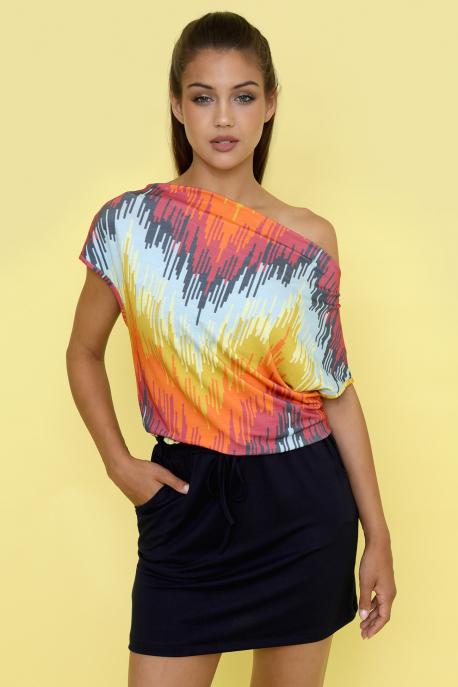 AMNESIA Jaffa rövid ruha színes mintás