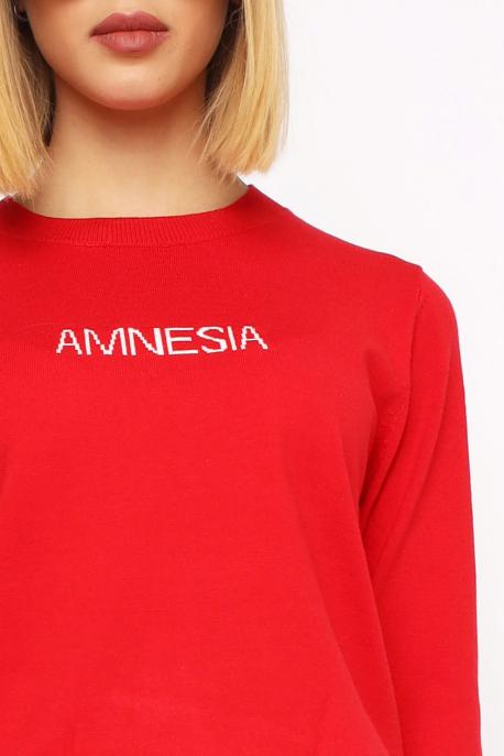 AMNESIA Vékony kerek nyakú pulóver piros