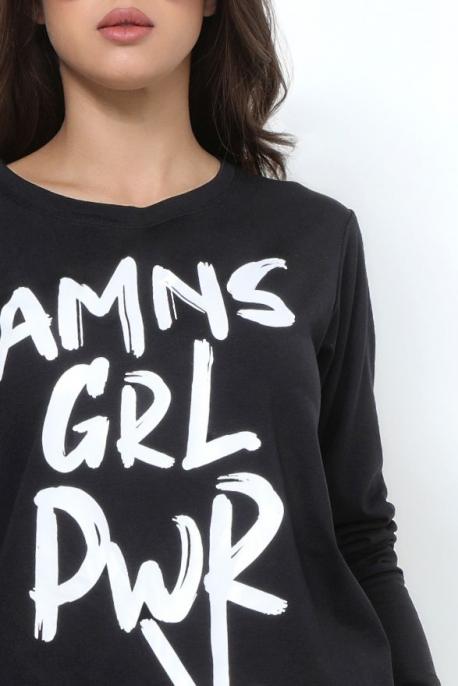 AMNESIA T-póló hosszú ujjú fekete girl power