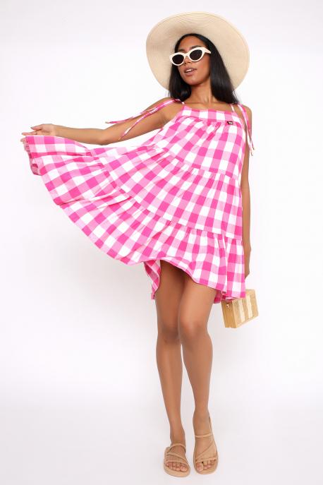 AMNESIA Teatra ruha rózsaszín/fehér kockás