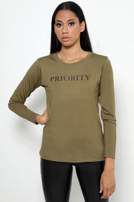 AMNESIA T-póló hosszú ujjú PRIORITY khaki