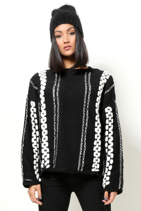 AMNESIA Vegyes pulóver fekete/fehér