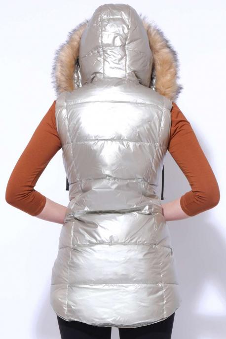 AMNESIA Szőrös kapucnis hátul hosszú mellény