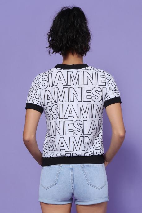 AMNESIA Tamba felső fehér/fekete betű