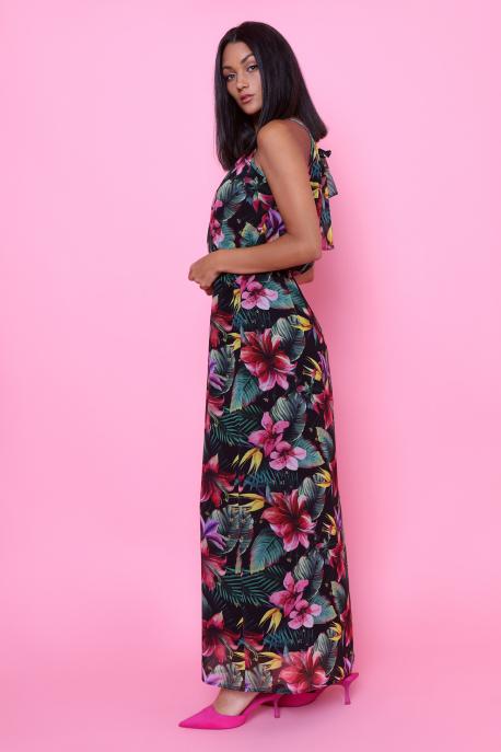 AMNESIA Élkona muszlin ruha fekete/virágmintás