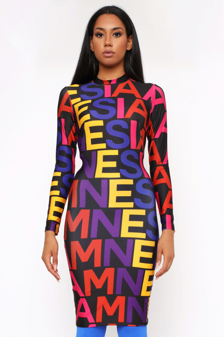 AMNESIA Mexi betűs ruha