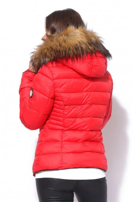 AMNESIA Szőrme galléros kabát